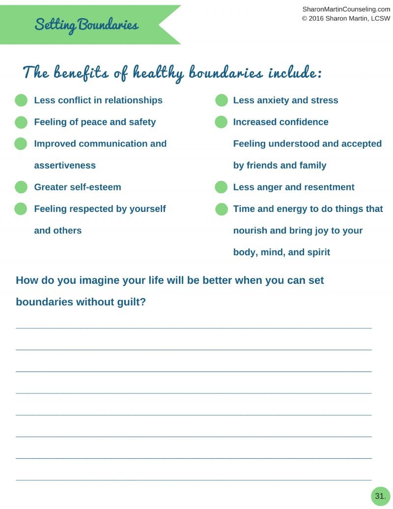 Setting Boundaries Workbook by Sharon Martin Live Well with – Boundaries in Relationships Worksheet