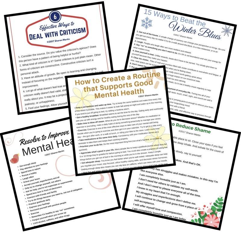 Mental Health Self Help Printables