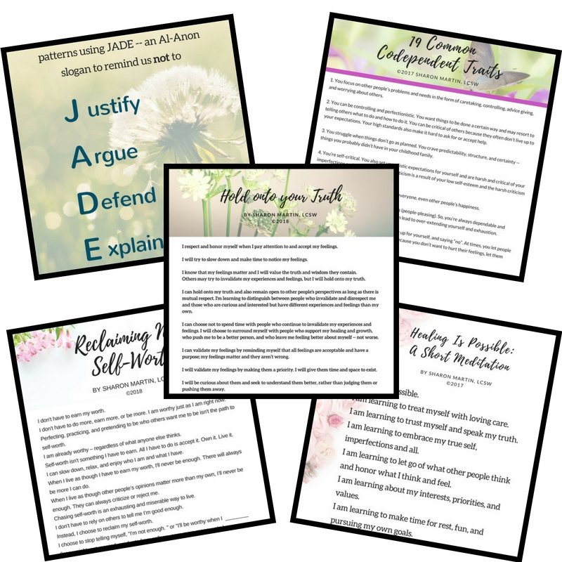 codependency tip sheets, pds, self-improvement