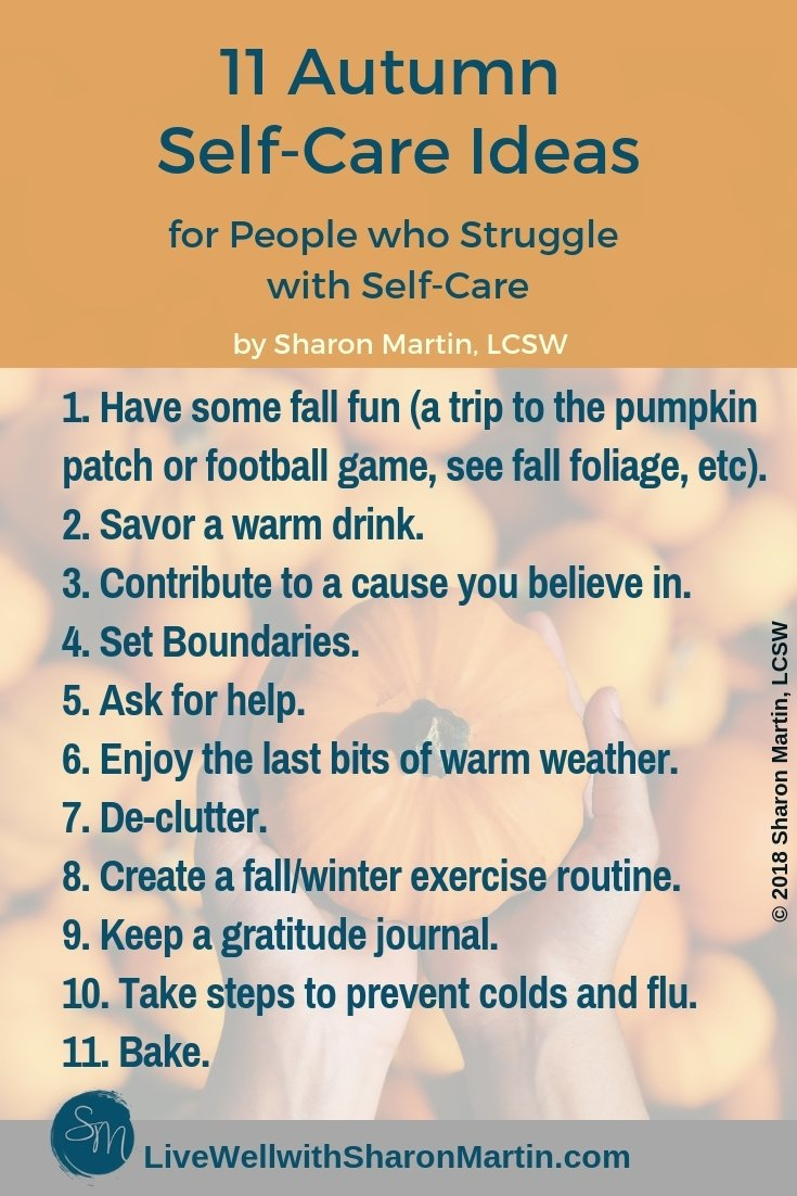 Autumn Self-Care, seasonal self-care, fall self-care #selfcare #coldweather #autumn #baking #mentalhealth #clutter #boundaries