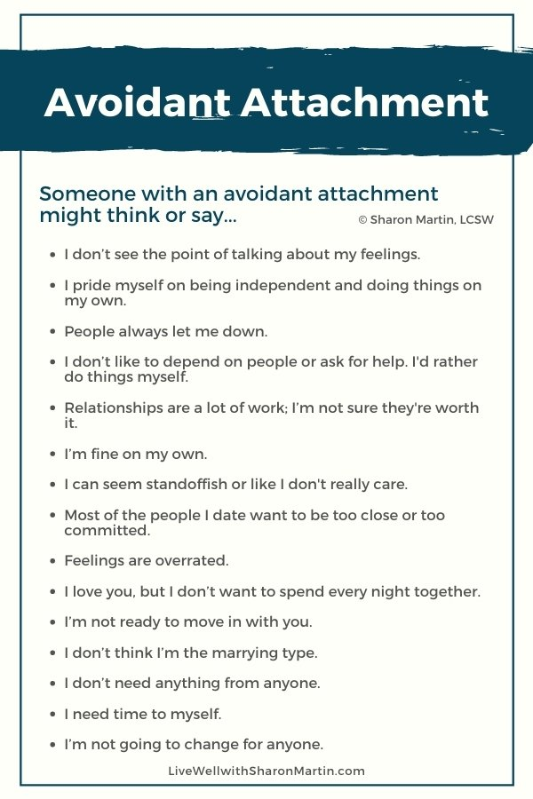 signs of avoidant attachment