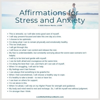 Affirmations for Stress or Anxiety