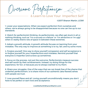 Overcome perfectionism and learn to love your imperfect self